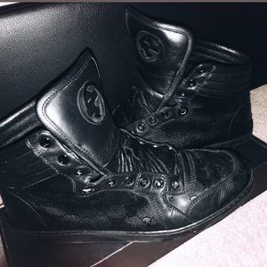 Men's Black Gucci High- top Sneakers